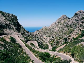 mountain, road, winding wallpaper