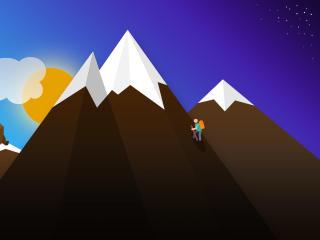 Mountain Trekking Art wallpaper