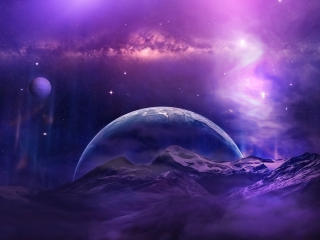 Mountains and Cosmo Planets wallpaper