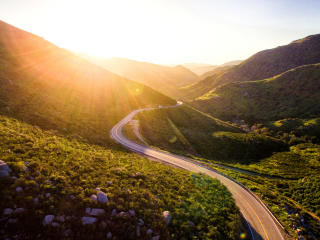 mountains, road, serpentine wallpaper