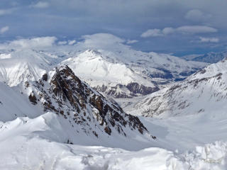 mountains, snow, peaks wallpaper