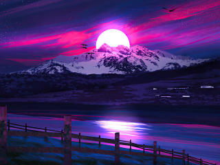 Mountains Sunrise Nepal Illustration wallpaper