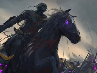 Mummy Warrior Riding Horse wallpaper