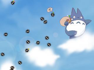 my neighbor totoro, sky, clouds wallpaper