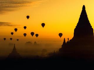 Myanmar Burma Temple Silhouette wallpaper