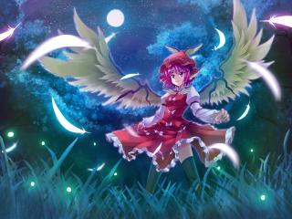 mystia lorelei, girl, wings wallpaper
