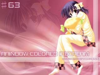 nanao naru, rainbow- colored icecream, girl wallpaper