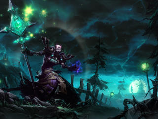 necromancer, staff, magic wallpaper