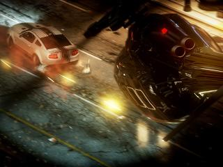 need for speed run, helicopter, car wallpaper