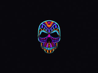 Neon Color Minimalist Skull wallpaper
