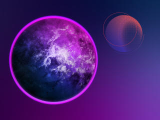 Neon Retro Planets wallpaper