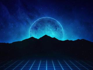 Neon Retrowave Hills wallpaper