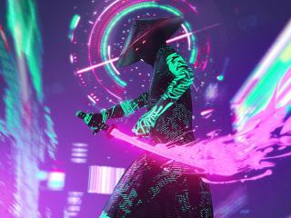 Neon Samurai Cyberpunk wallpaper