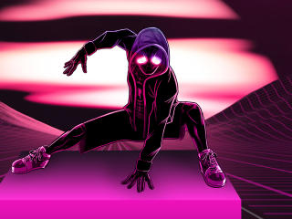 Neon Spider Man 4K wallpaper