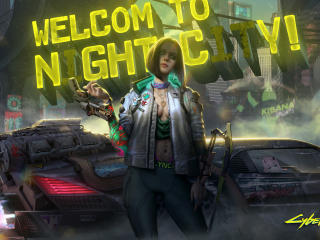 Neon Welcome To Night City Cyberpunk 2077 wallpaper