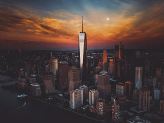 New York City Skyscraper Buildings at Sunset wallpaper