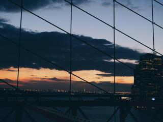 new york, night, building wallpaper