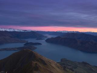 New Zealand Mountains Dawn Lake wallpaper