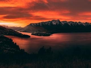 New Zealand Orange Mountain Sunset wallpaper