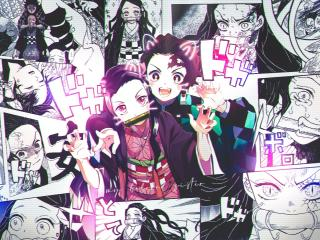 Nezuko and Tanjirou Manga wallpaper