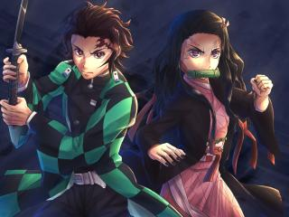 Nezuko Kamado and Tanjirou Kamado wallpaper