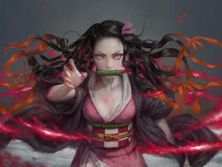 Nezuko Kamado Cosplay Art wallpaper