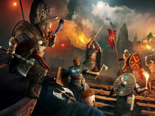 Night Battle Assassins Creed Valhalla wallpaper