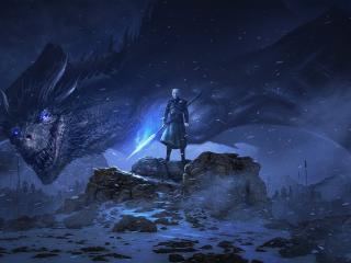 Night King and Dragon wallpaper