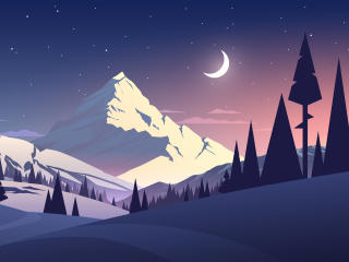 Night Mountains Summer Illustration wallpaper