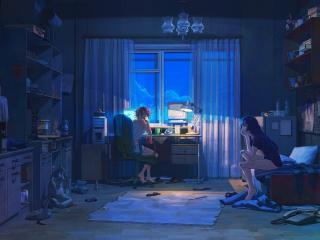 night, room, girls wallpaper