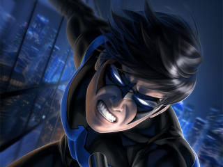 Nightwing Fighting Art wallpaper
