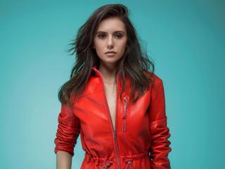 Nina Dobrev Red Leather Jacket wallpaper