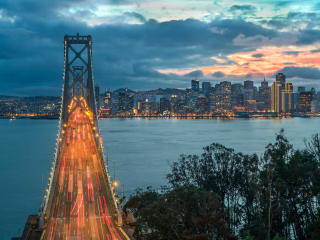 Oakland Bay Bridge In Evening wallpaper