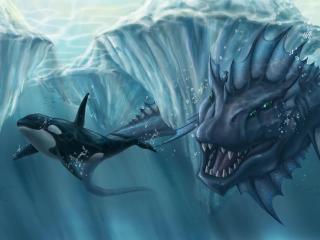 ocean, glaciers, whale wallpaper
