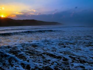 ocean, waves, sunset wallpaper