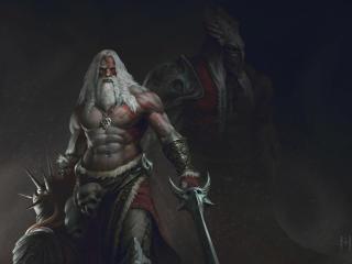 Old Beard Man With Sword Warrior wallpaper