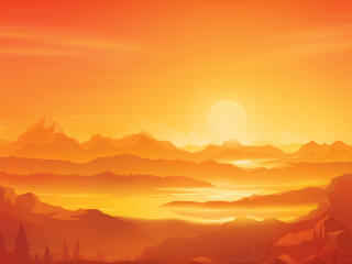 Orange Landscape Morning Minimal wallpaper