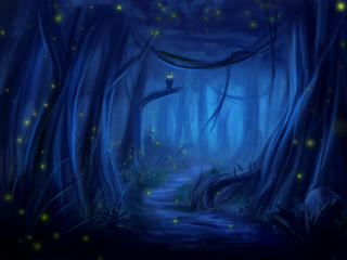 Owl Forest at Night Art wallpaper