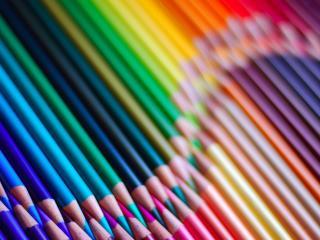 pencils, composition, rainbow wallpaper