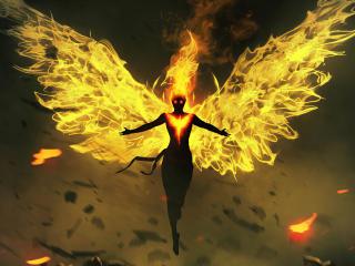 Phoenix on Fire 4k Art wallpaper