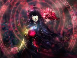Pink Eye Anime Girl with Flower wallpaper