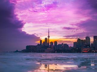 Pink Sky In Urban City wallpaper