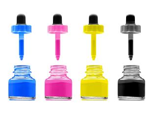 pipettes, jars, paint wallpaper