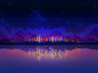 PixelArt Night Landscape wallpaper
