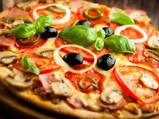 pizza, vegetables, baked goods wallpaper