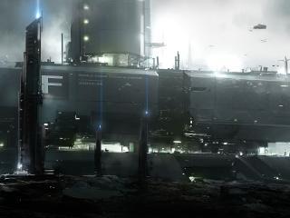 planet, base, ships wallpaper