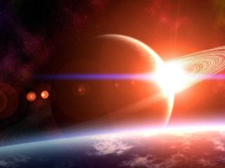 planet, ring, light wallpaper
