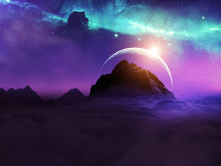 Planet Rising Over Galaxy wallpaper