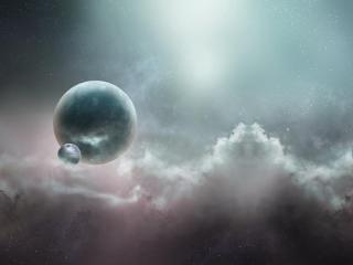 planets, nebula, stars wallpaper