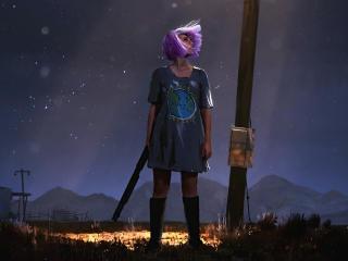 Playerunknown's Battlegrounds Purple Girl wallpaper